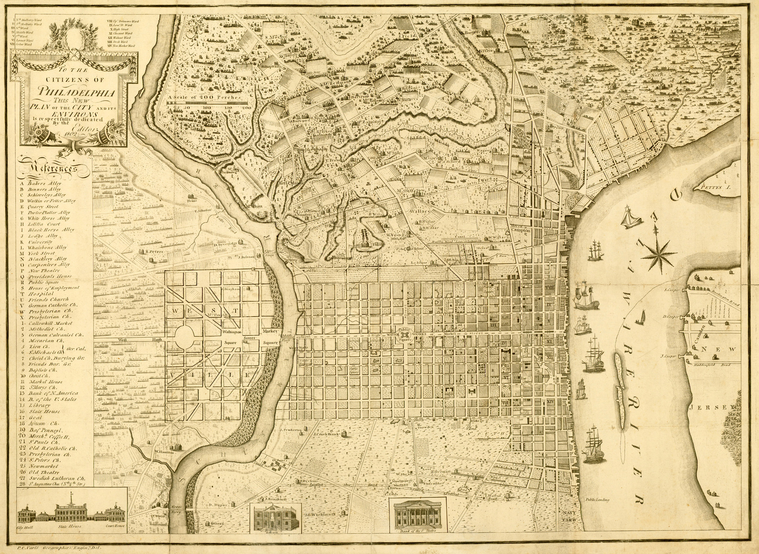 """1802 Idealized """"Plan"""" of West Philadelphia, by Charles P. Varle"""