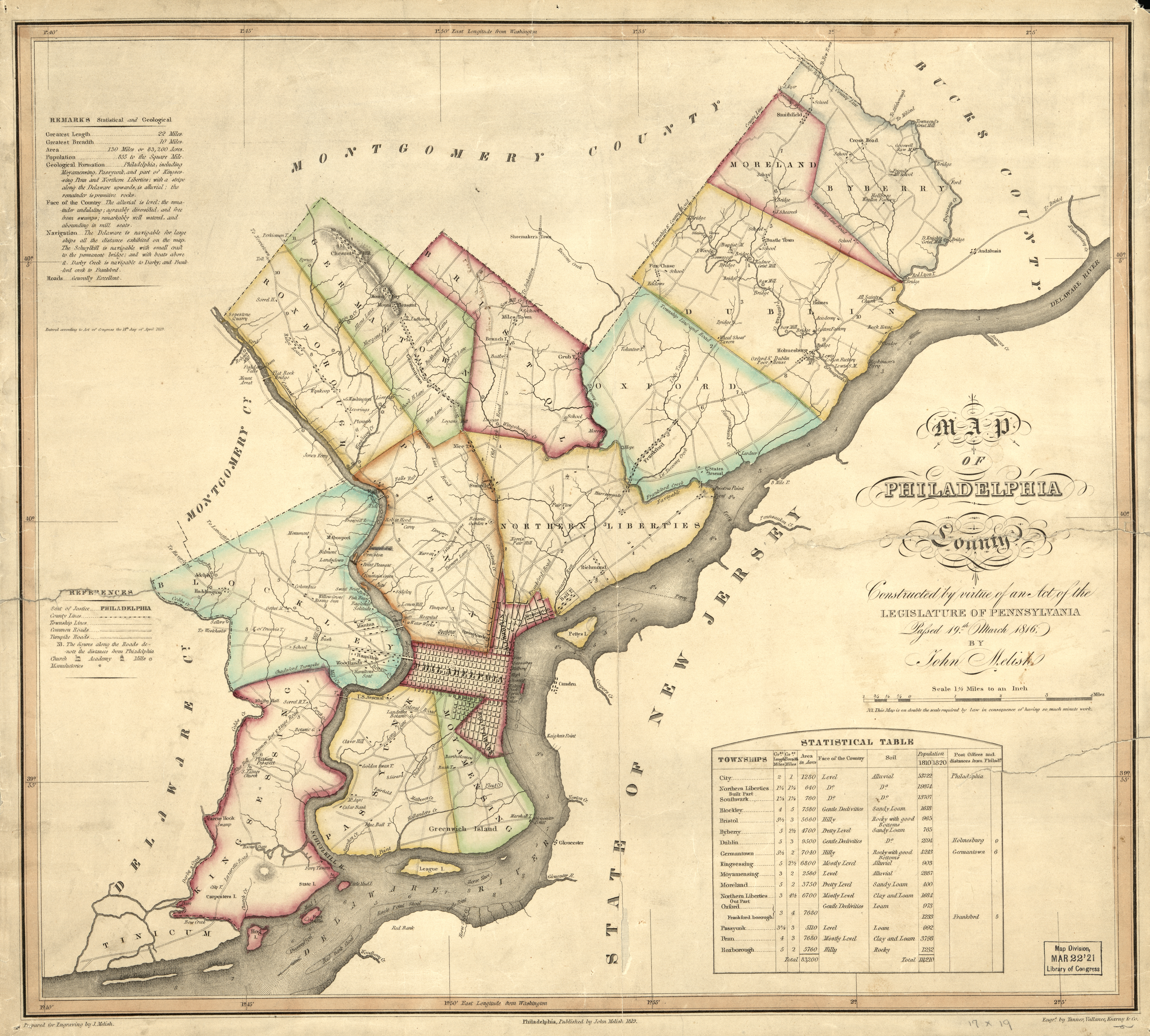 1816 Map of Philadelphia County, by Melish