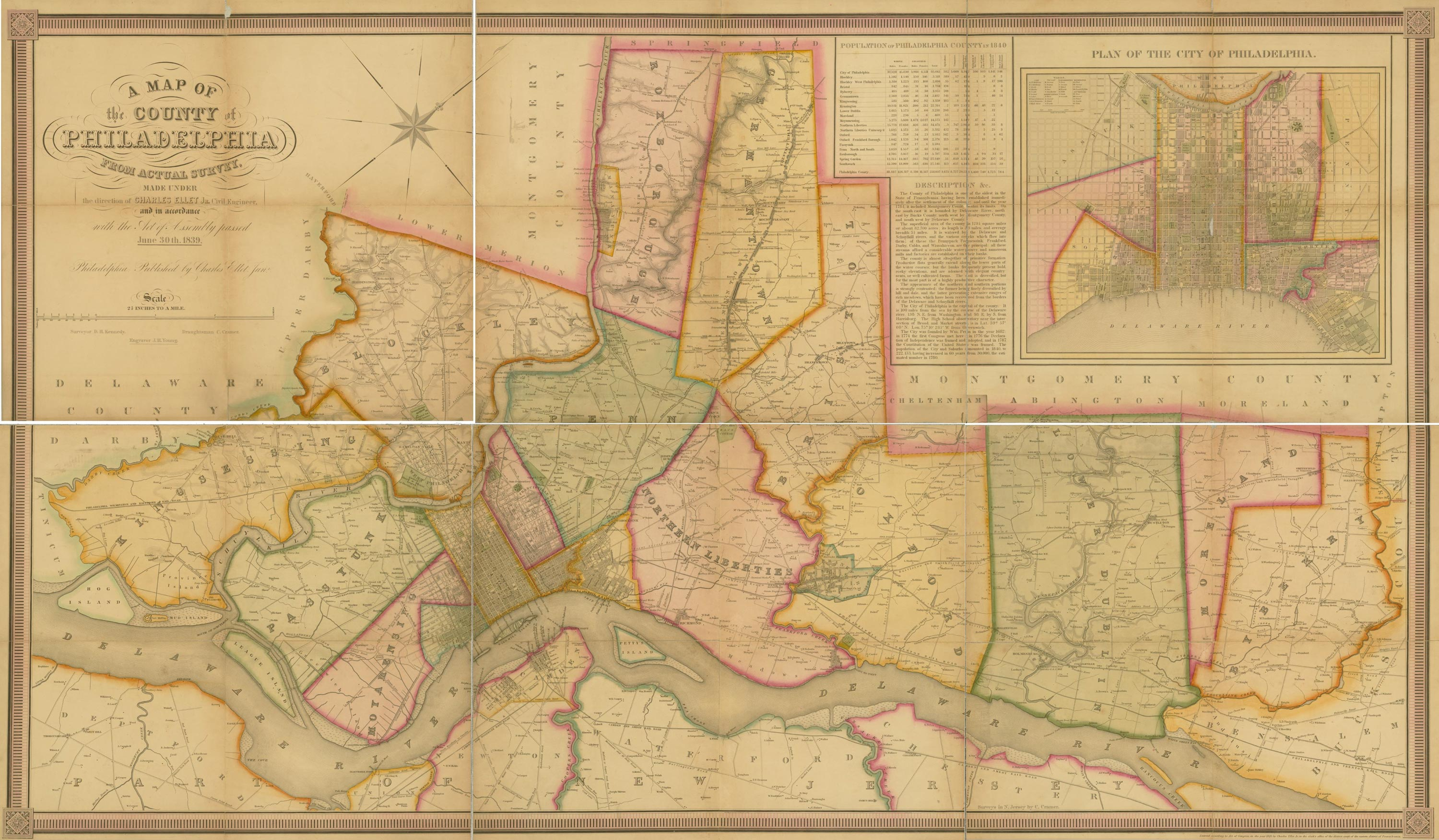 1843 Map of the County of Philadelphia, by Ellet