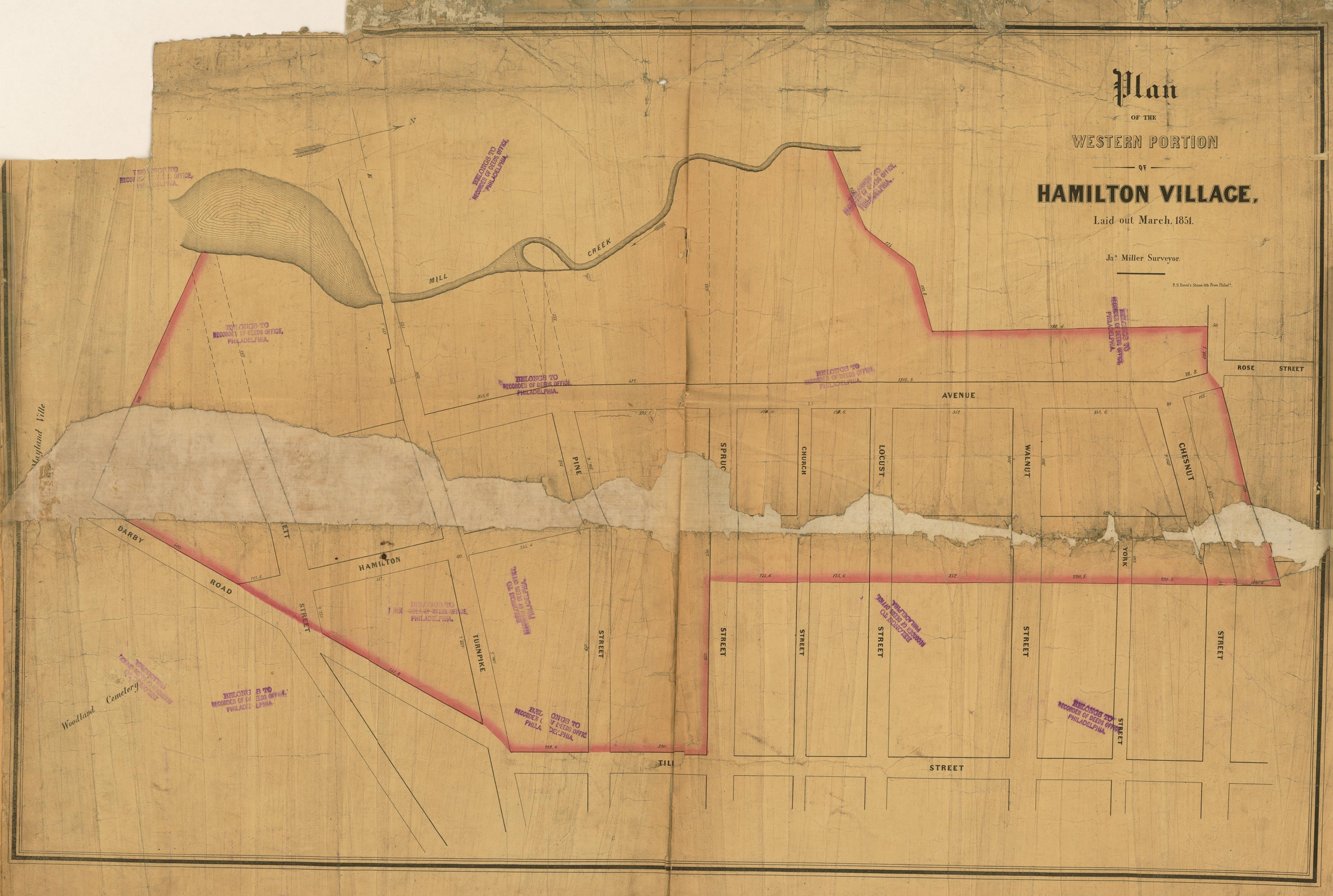 1851 Plan for Western Part of Hamilton Village in West Philadelphia, by Milller