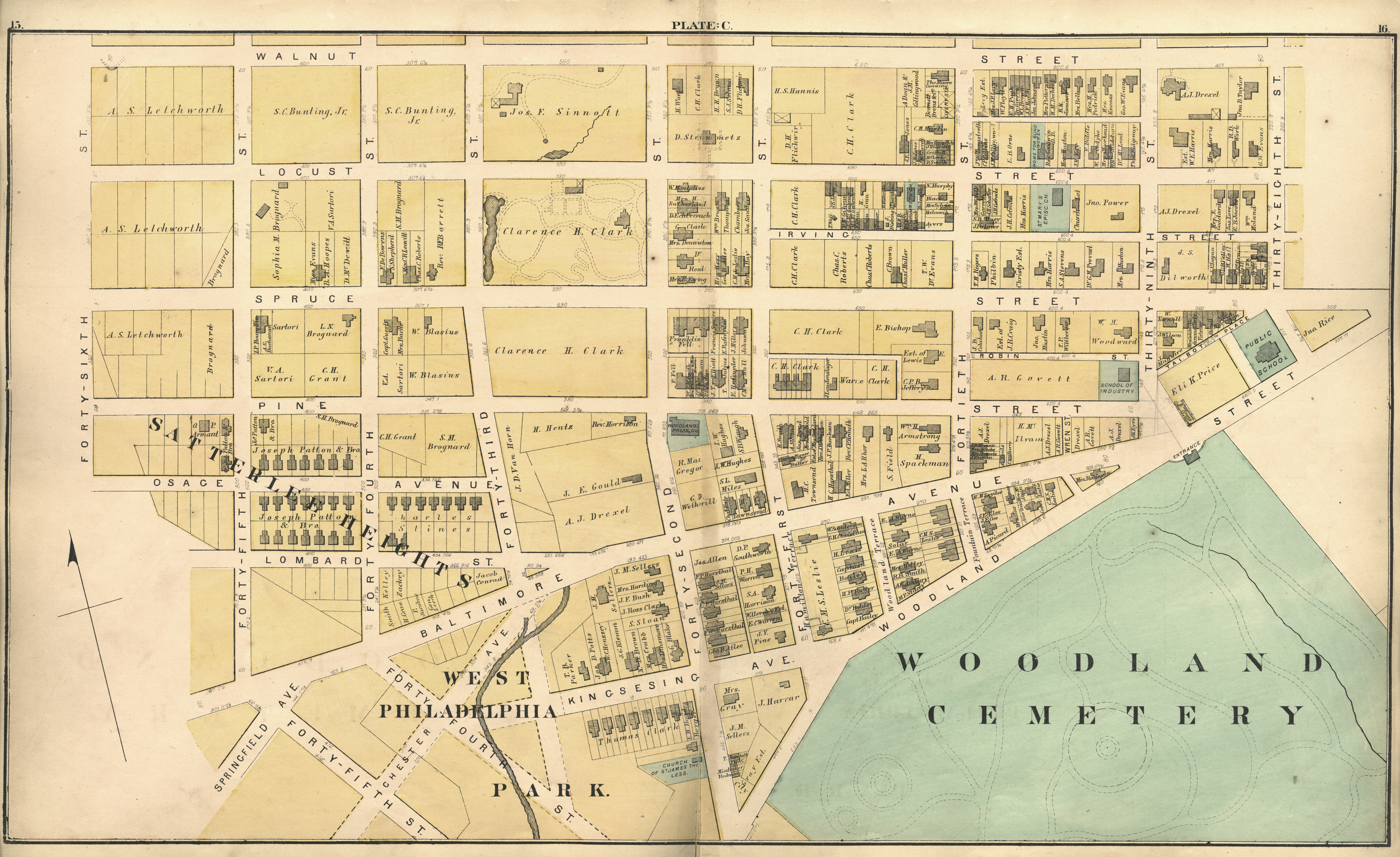 1872 Atlas of the 24th and 27th Wards, West Philadelphia - Plate C