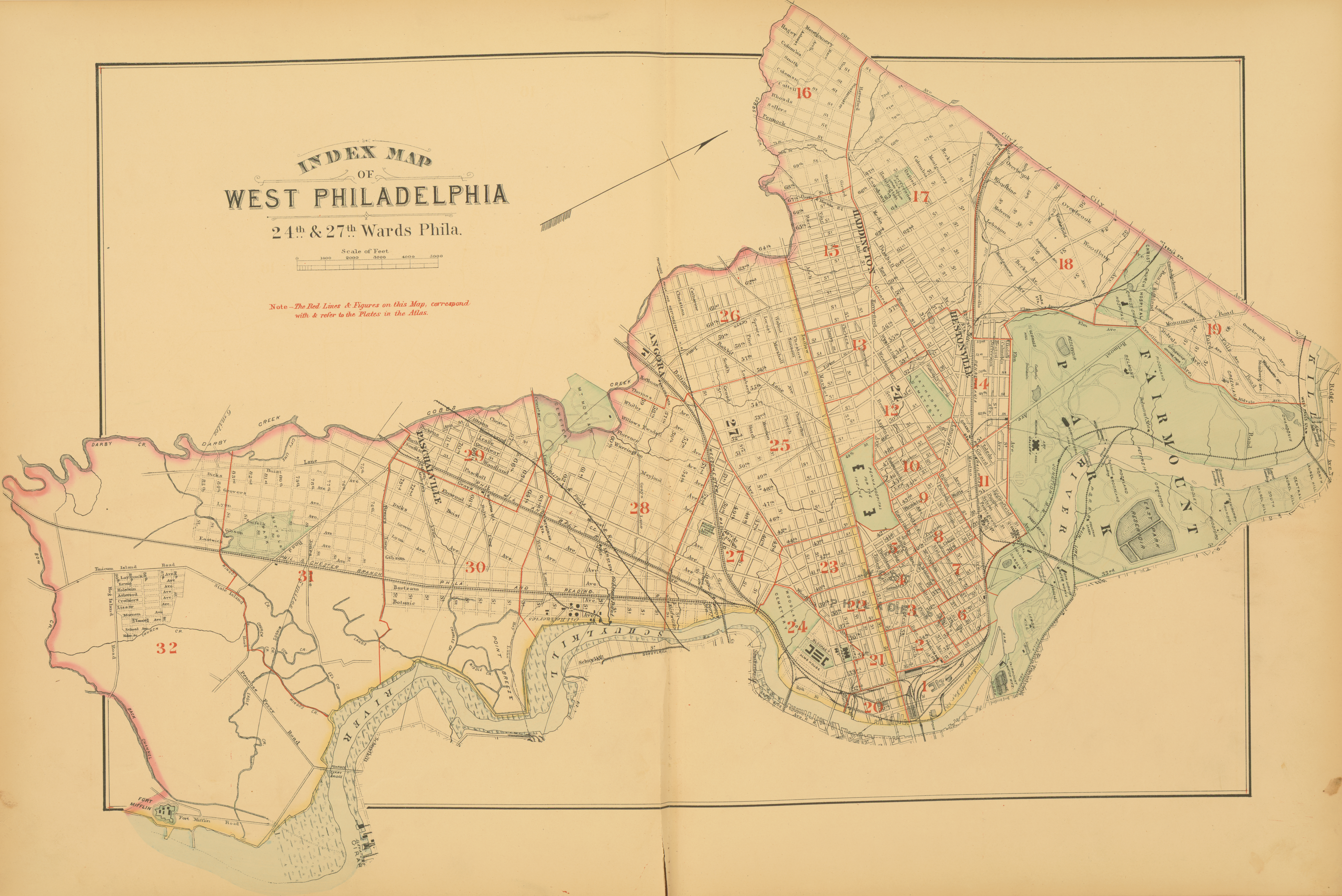 1886 Atlas of the 24th and 27th Wards, West Philadelphia - Index Map