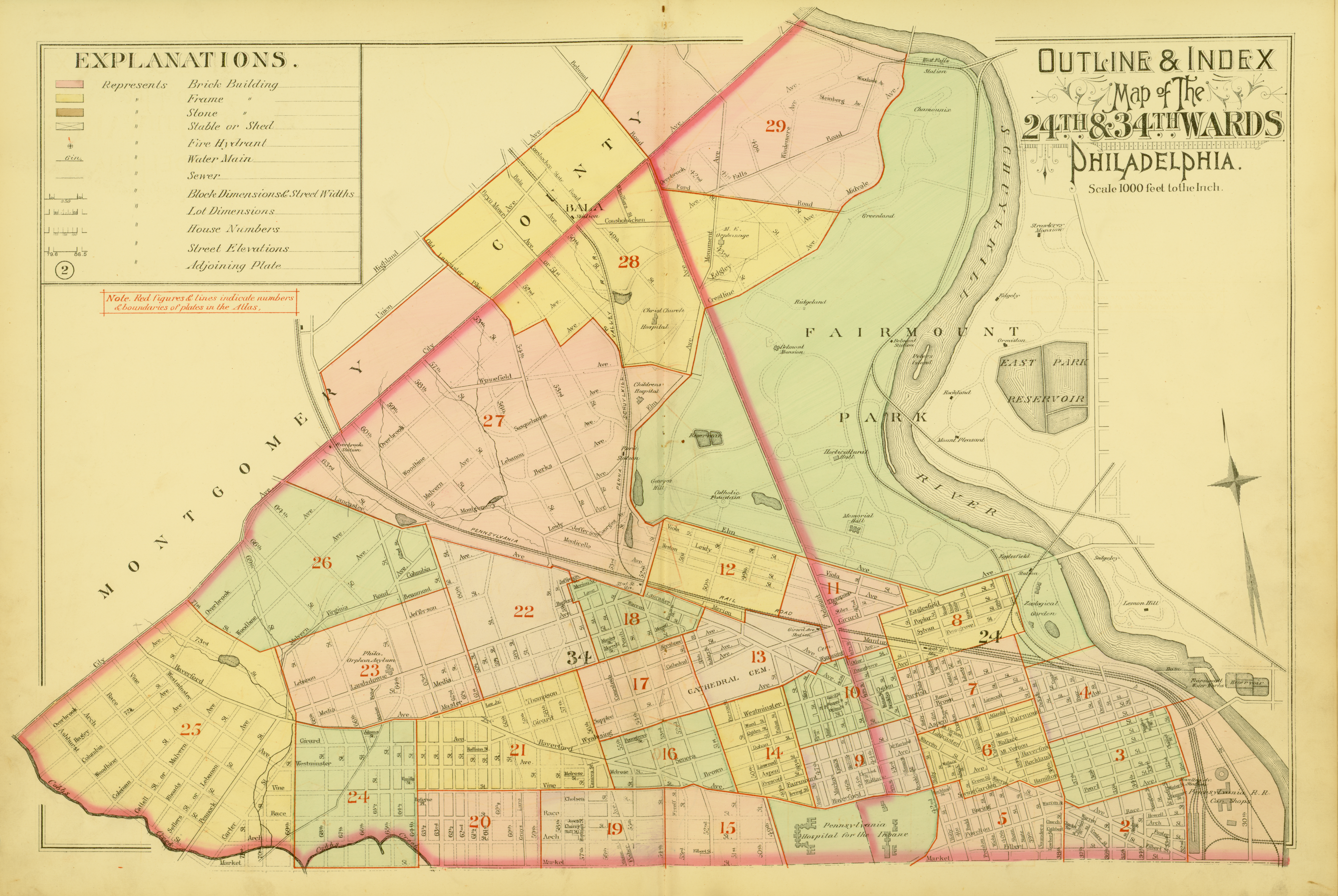 1892 Atlas of the 24th and 34th Wards, West Philadelphia - Index Map