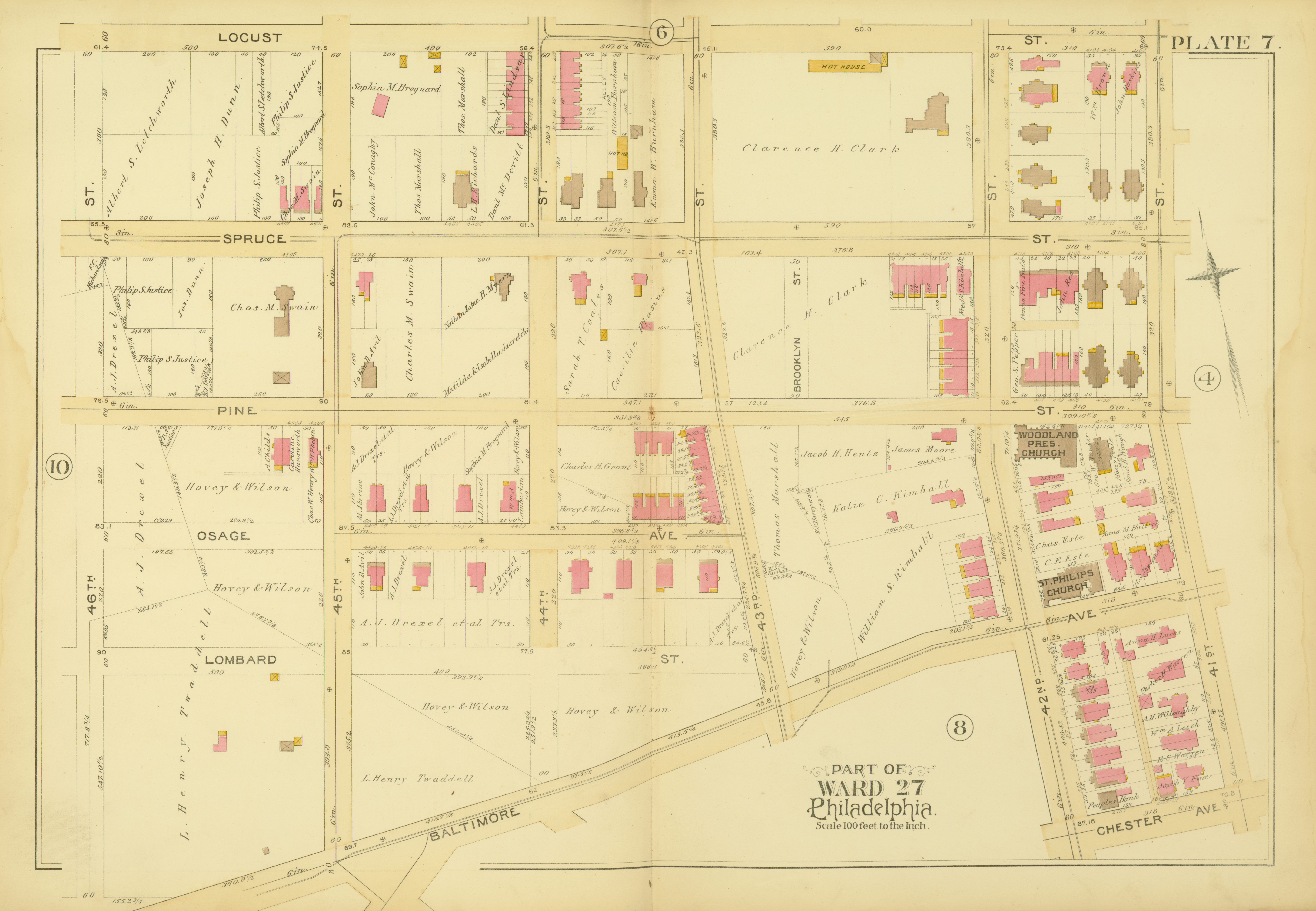 1892 Atlas of the 27th Ward, West Philadelphia - Plate 7