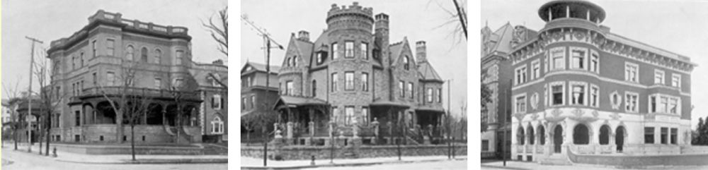 Residences of, left to right: Harrison Dickey Stratton (35th and Powelton), Patricius McManus (Baring and 36th Streets), and Patricius McManus (36th and Baring Streets)