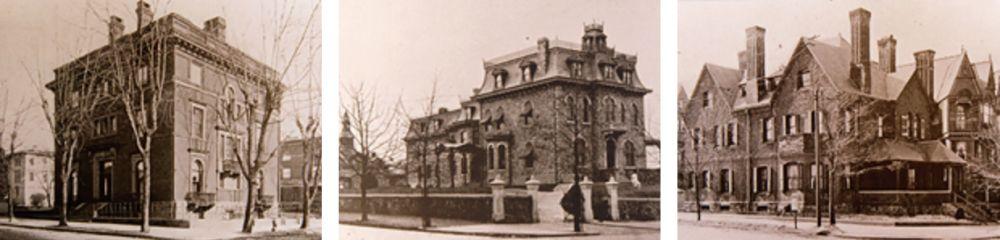 Residences of, left to right: John Shriver Wentz, M.D. (northeast corner 39th and Locust Streets),  Clarence Howard Clark Jr. (southwest corner of 42nd and Spruce Streets), and Charles Moselley Swain (southwest corner of 45nd and Spruce Streets)