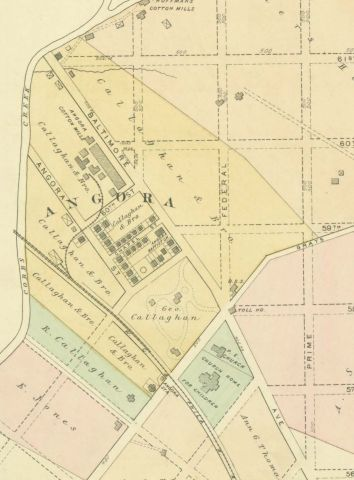 Callaghan & Bro. Mills as shown in J.D. Scott's 1878 Atlas of the 24th and 27th Wards, West Philadelphia